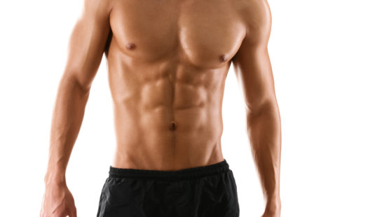 Half naked sexy body of muscular athletic man, isolated on white
